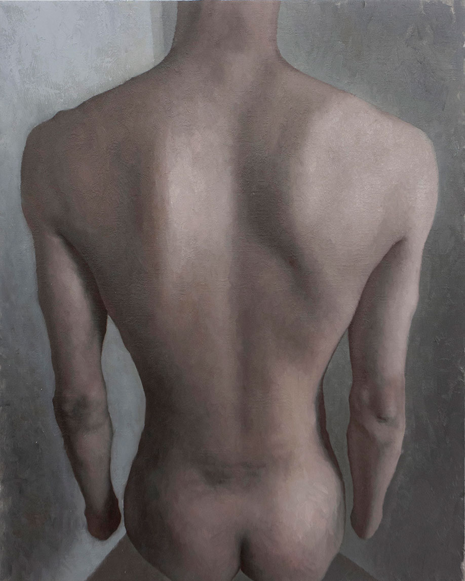 <b>Title:</b>Lingrui Zhang<br>Face the wall <br /><b>Year:</b>2019 <br /><b>Medium:</b>Oil on linen <br /><b>Size:</b>80 x 100cm