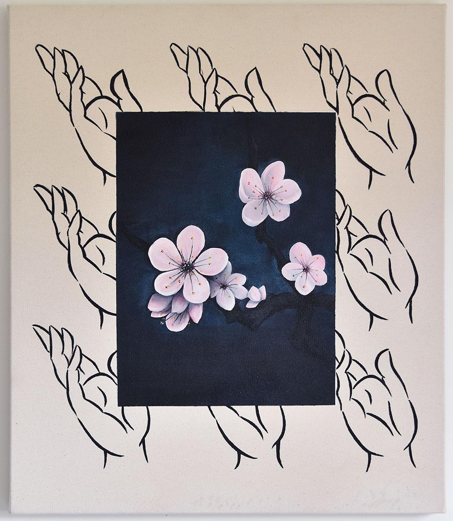<b>Title:</b>Qijun Li<br>Prunus Mume<br /><b>Year:</b>2019<br /><b>Medium:</b>Oil and acrylic on canvas<br /><b>Size:</b>70 x 90 cm