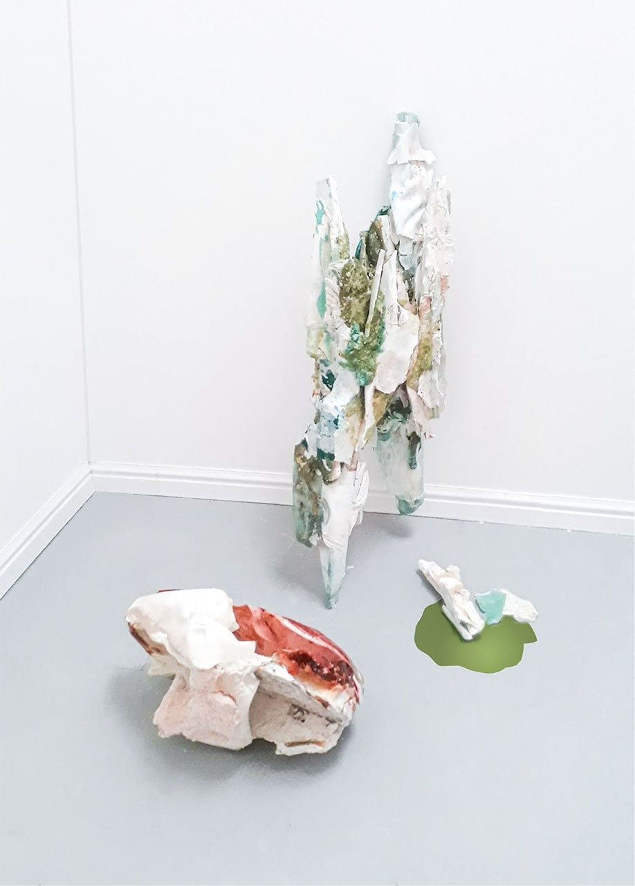 <b>Title: </b>Silke Weissbach<br>The Lavish Use of Our Resources<br /><b>Year: </b>2020<br /><b>Medium: </b>beetroot, cocoa butter, capsicum, glucose, Himalayan salt, iron-red, phtalo green, pigment, plaster, pomegranate, wax<br /><b>Size: </b>35 x 50 x 27cm, 115 x 32 x 40 cm, and 15 x 12 x 8 cm