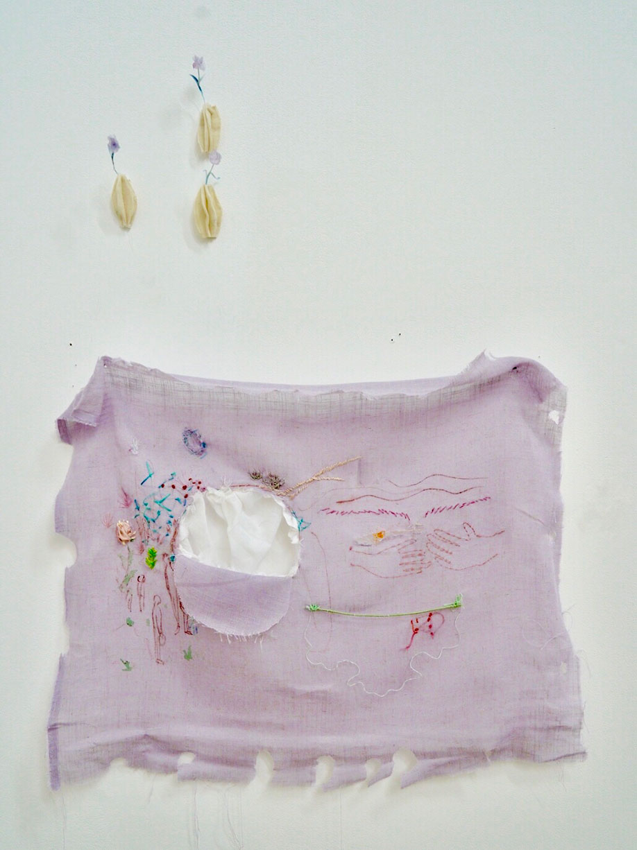 <b>Title: </b>Xiaoxue Tang<br>A Hole on the Earth<br /><b>Year: </b>March 2020<br /><b>Medium: </b> Pigment, Iron Wire, Cotton, Beads<br /><b>Size: </b>50cm x 60 cm