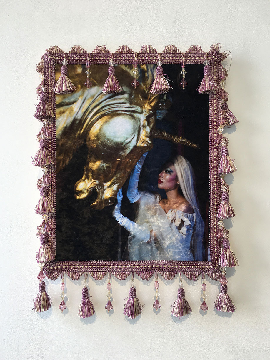 <b>Title: </b>Yang Xu<br>I Always Believed Unicorns Are Real 14102019<br /><b>Year: </b>2020<br /><b>Medium: </b>Photographic print on synthetic fabric, mounted on board with textile embellishments<br /><b>Size: </b>66 x 47cm