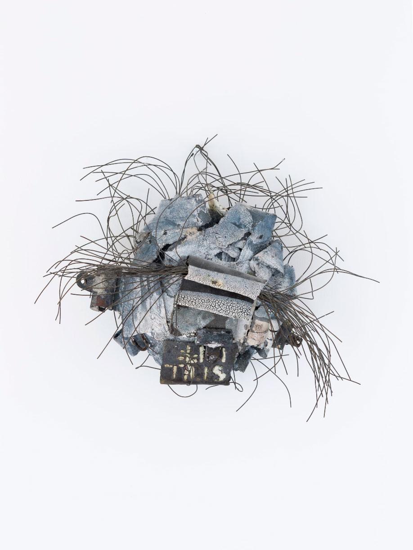 <b>Title:</b>Almost Off the Wall<br /><b>Year:</b>2001<br /><b>Medium:</b>Ceramic, wire<br /><b>Size:</b>38 x 38 cm