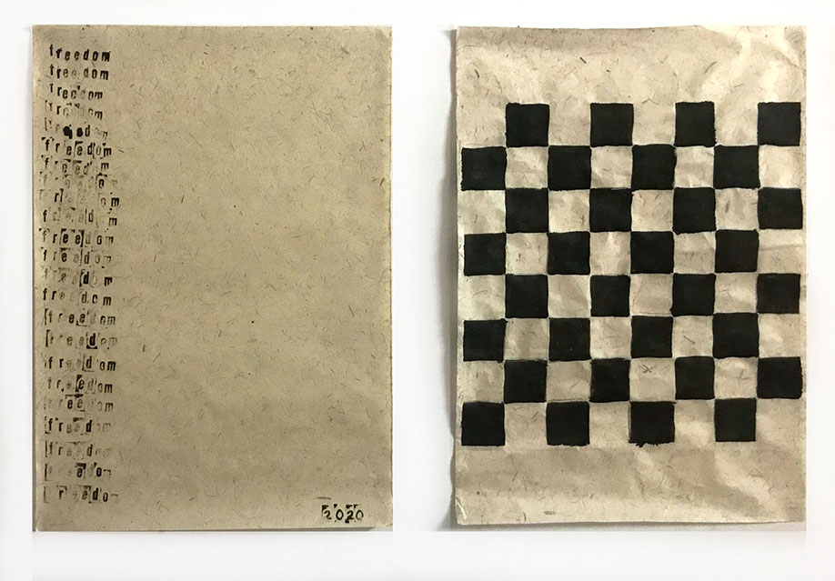 <b>Title:</b>emily-moore-freedom<br /><b>Year:</b>2020 (During covid and Black Lives Matter protest)<br /><b>Medium:</b>Ink on handmade sugarcane paper<br /><b>Size:</b>Diptych each 70 x 50