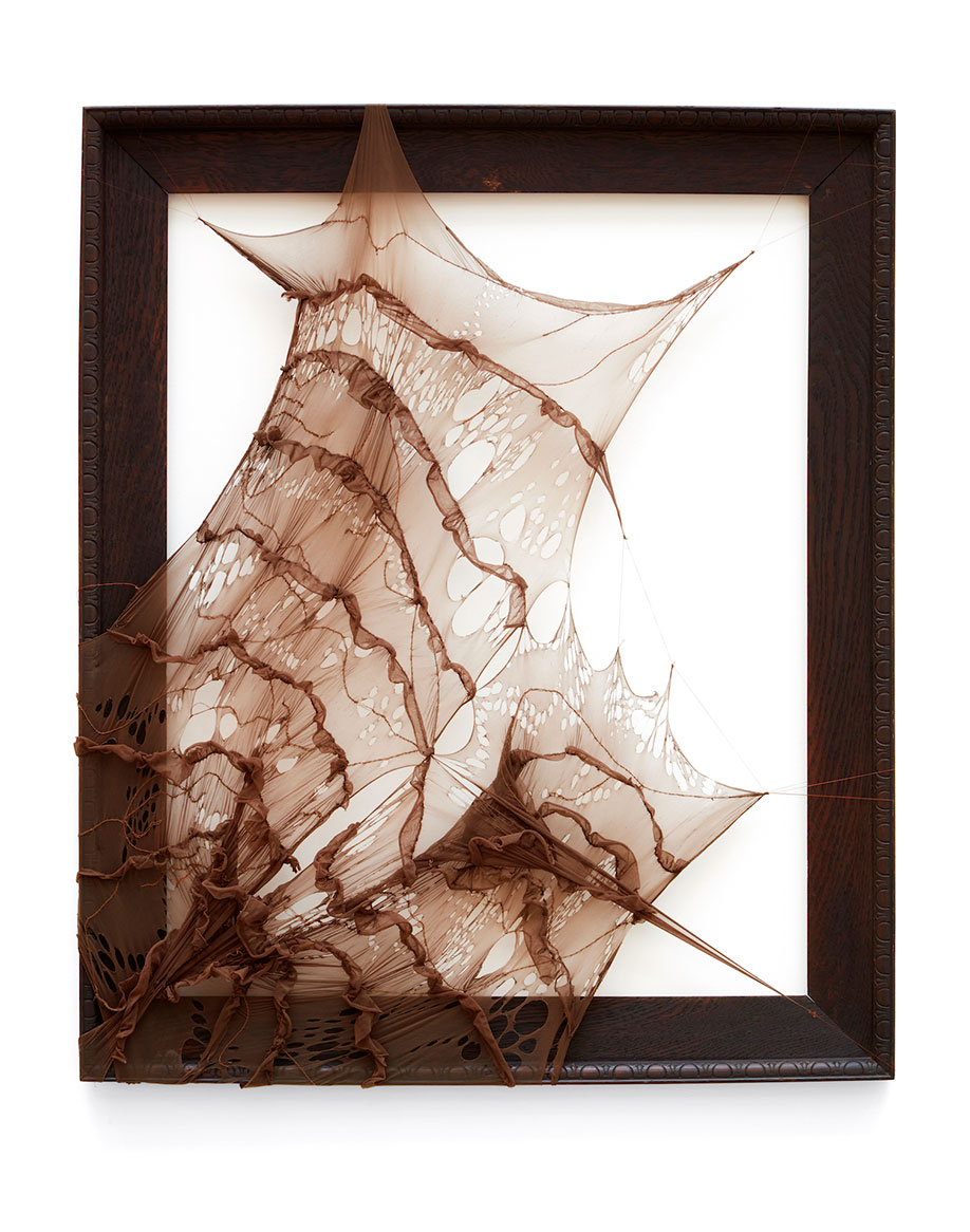 <b>Title:</b>Femininity and blackness, a Pointe-d dreamscape in nude<br /><b>Year:</b>2019<br /><b>Medium:</b> recycled tights and cotton thread on vintage wood frame<br /><b>Size:</b>83.5 x 100.5 x 3.5 cm