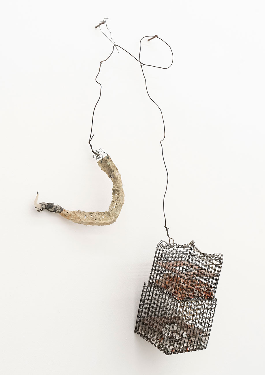 <b>Title:</b>Hook Figure With Cage<br /><b>Year:</b>1991<br /><b>Medium:</b>Sliced loofahs, cones, ceramic, shards, salvage electrical wire and metal cage<br /><b>Size:</b>80 x 45 cm