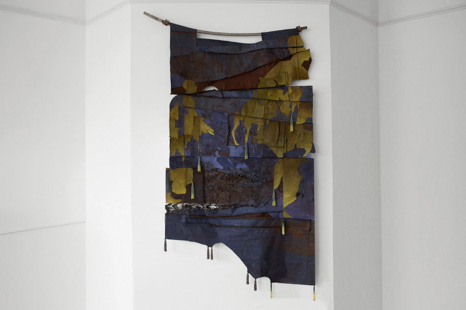 <b>Title:</b>Dust to Rust<br /><b>Year:</b>2020<br /><b>Medium:</b>Fabric dye, pigment and hand-embroidery on canvas, steel<br />