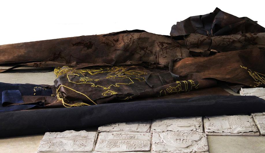 <b>Title:</b>Prayermat<br /><b>Year:</b>2019<br /><b>Medium:</b>Fabric dye, Acrylic and hand-embroidery on canvas, ceramics<br />