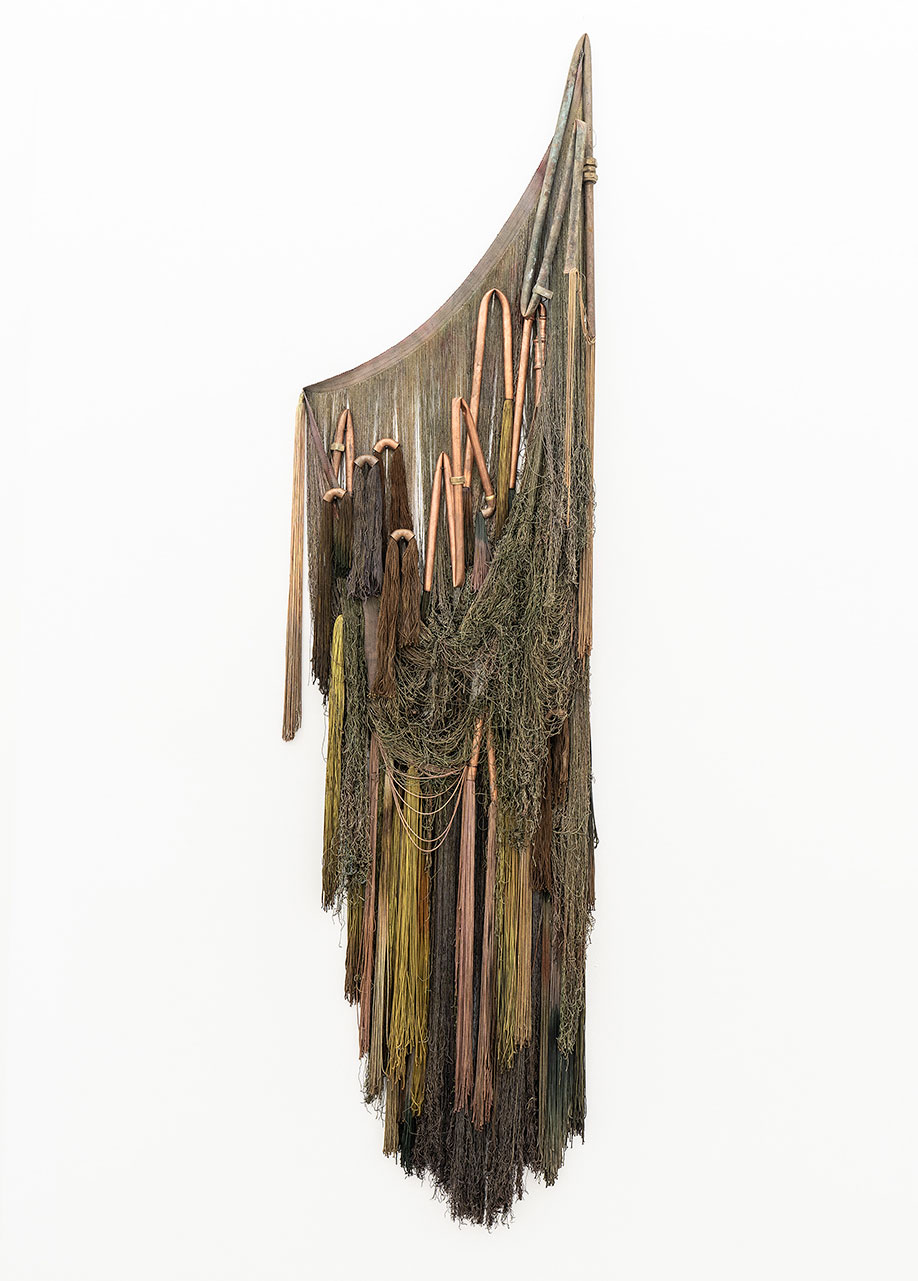 <b>Title:</b>Untitled<br /><b>Year:</b>2021<br /><b>Medium:</b>Hand-dyed cotton, Copper<br /><b>Size:</b>165 x 50 cm